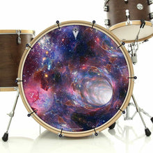 Wormhole bass face drum banner installed on bass drum by Visionary Drum; abstract drum art