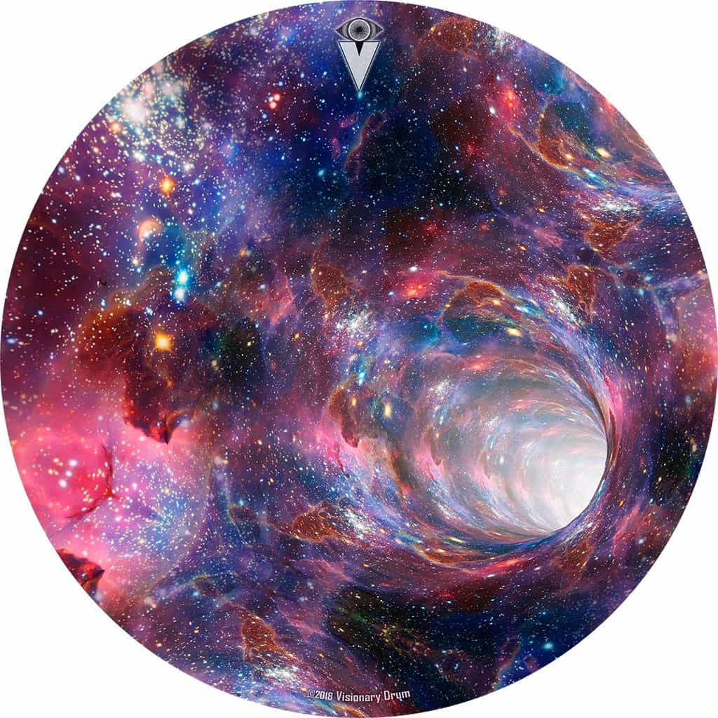 Wormhole design graphic drum skin by Visionary Drum; outer space drum art