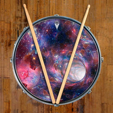 Wormhole graphic drum skin on snare drum head by Visionary Drum; psychedelic drum art