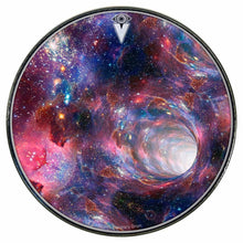 Wormhole graphic drum skin installed on bass drum head by Visionary Drum; deep space drum art