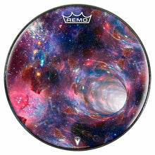 Wormhole Design Remo-Made Graphic Drum Head by Visionary Drum; cosmos drum art