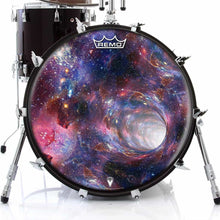 Wormhole Design Remo-Made Graphic Drum Head on Bass Drum; outer space drum art