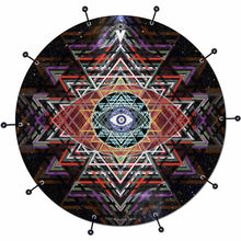 Yantra Complex bass face drum banner by Visionary Drum; black pattern drum art