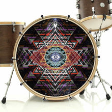 Yantra Complex bass face drum banner installed on bass drum; visionary drum art