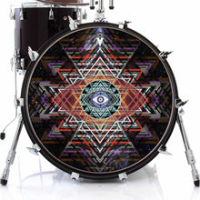 Yantra Complex graphic drum skin on bass drum head by Visionary Drum; sacred geometry drum art