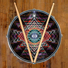 Yantra Complex graphic drum skin on snare drum head by Visionary Drum; sacred symbol drum art