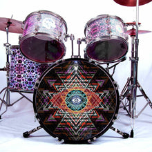 Yantra Complex graphic drum skin installed on bass drum head and shown on drum kit by Visionary Drum; spiritual drum art