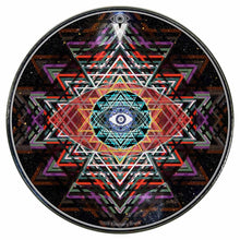 Yantra Complex graphic drum skin installed on bass drum head by Visionary Drum; meditation drum art