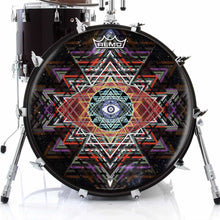 Yantra Complex Design Remo-Made Graphic Drum Head on Bass Drum; mandala drum art
