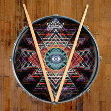Yantra Complex Design Remo-Made Graphic Drum Head on Snare Drum; third eye drum art