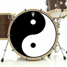 Yin Yang bass face drum banner installed on bass drum by Visionary Drum; spiritual drum art
