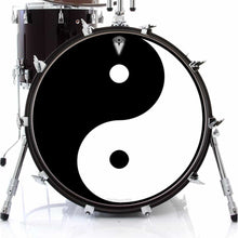 Yin Yang graphic drum skin on bass drum head by Visionary Drum; balance drum art