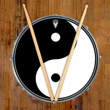 Yin Yang graphic drum skin on snare drum head by Visionary Drum; meditation drum art