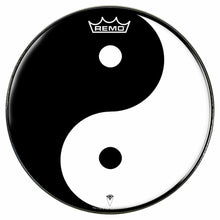 Yin Yang Design Remo-Made Graphic Drum Head by Visionary Drum; black and white drum art