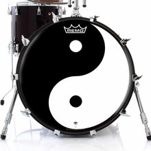 Yin Yang Design Remo-Made Graphic Drum Head on Bass Drum; mandala drum art