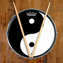 Yin Yang Design Remo-Made Graphic Drum Head on Snare Drum; ancient symbol drum art