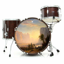Yosemite graphic drum skin installed on bass drum head and shown on drum kit; visionary drum art