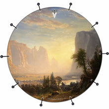 Yosemite bass face drum banner by Visionary Drum; nature landscape drum art