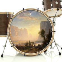 Yosemite bass face drum banner installed on bass drum by Visionary Drum; sunset beauty drum art