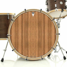 Zebrawood bass face drum banner installed on bass drum; nature drum art