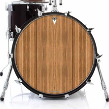 Zebrawood graphic drum skin on bass drum head by Visionary Drum; nature drum art