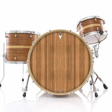 Zebrawood graphic drum skin installed on bass drum head and shown on drum kit; stripes drum art