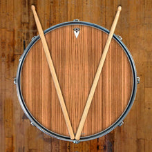 Zebrawood graphic drum skin on snare drum head by Visionary Drum; stripe pattern drum art