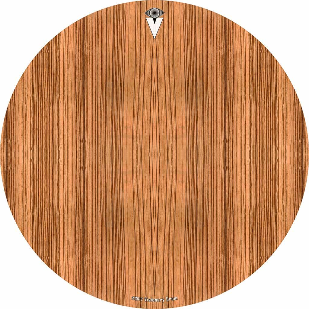 Zebrawood design graphic drum skin by Visionary Drum; wood grain drum art