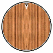 Zebrawood graphic drum skin installed on bass drum head by Visionary Drum; wood pattern drum art