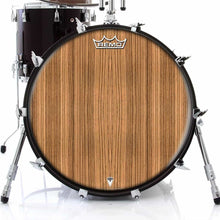 Zebrawood Design Remo-Made Graphic Drum Head on Bass Drum; wood pattern drum art