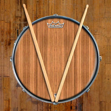 Zebrawood Design Remo-Made Graphic Drum Head on Snare Drum; stripe pattern drum art