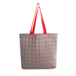 COTTON PLAID REUSABLE TOTE BAG with matching cosmetic purse( 50 pcs/case )