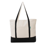100% cotton canvas large reusable shopping bag with outer pocket and  zippered closure