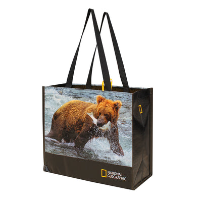 REUSABLE GROCERY SHOPPING TOTE BAGS WITH NATIONAL GEOGRAPHIC PRINTS: BEAR/EAGLE/WOLVES ( 48 pcs/case - 16 per design)