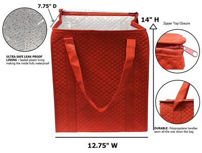 INSULATED REUSABLE GROCERY SHOPPING BAG WITH LEAKPPROOF LINING (24 PCS/CASE - 12 per color)
