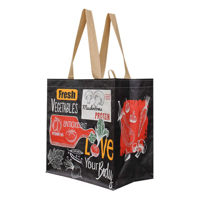 REUSABLE GROCERY SHOPPING TOTE BAG with love your body print (  96 pcs/case )