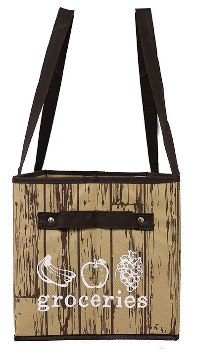 REUSABLE GROCERY BOX BAG IN BROWN/TAN GROCERY PRINT ( 25 pcs/case)