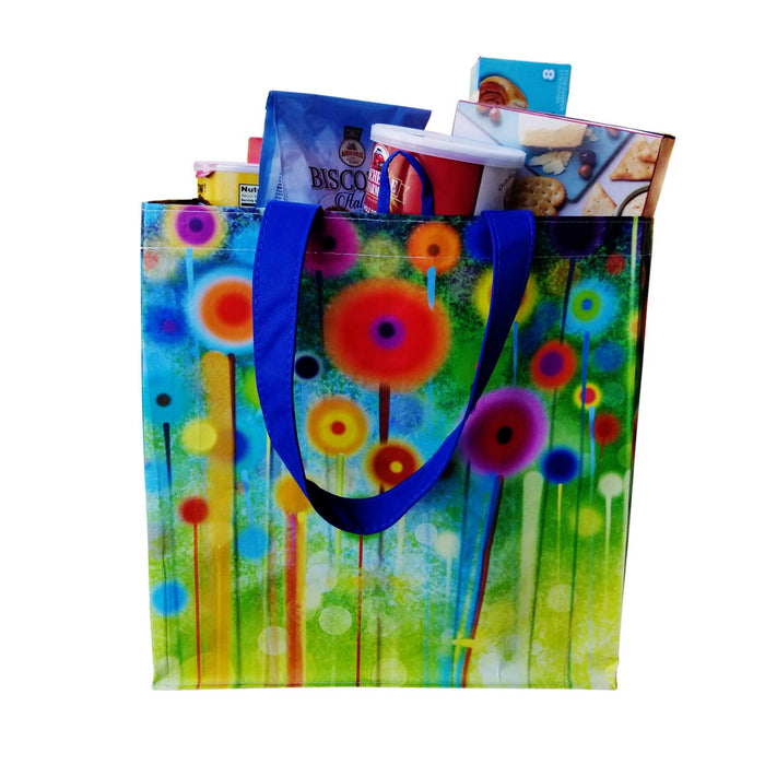 REUSABLE SHOPPING TOTE  BAG ABSTRACT FLOWER PRINT ( 96 pcs/case )