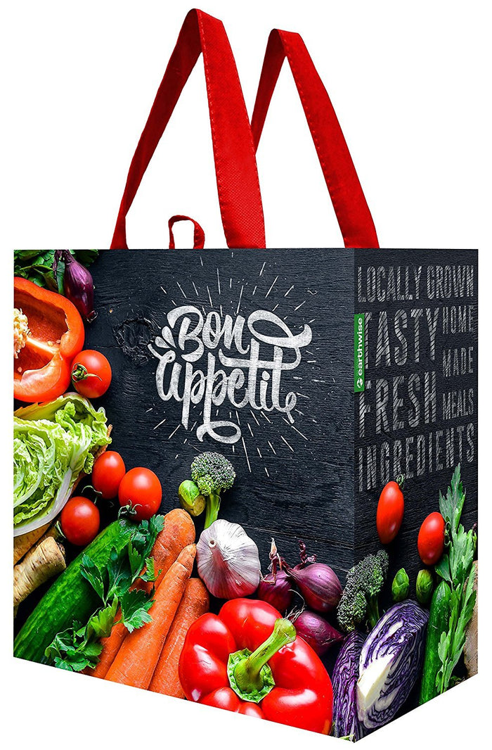 Laminated Reusable Grocery Bag with Chalkboard Veggie Print ( 96 pc/Case)