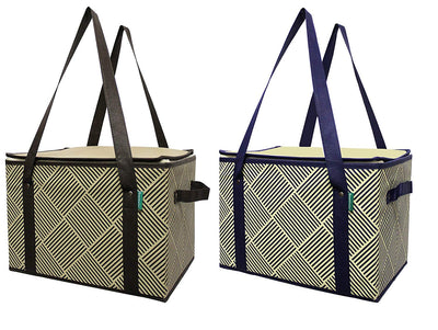 LARGE INSULATED COLLAPSIBLE BOX BAG WITH REINFORCED BOTTOM (20 pc/case - 10 per color )