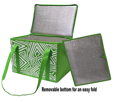 Insulated Reusable Box Bag with Reinforced Bottom Insert and Zipper Top Lid ( 20 pc/Case - 10 Per color  )