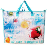 Laminated Non-Woven Polypropylene reusable shopping bag, insulated with zipper closure and waterproof PEVA lining