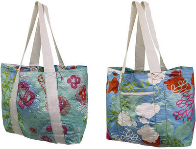 REVERSABLE TYVEK BEACH POOL TOTE FLORAL PRINT ( 20 pc/case )
