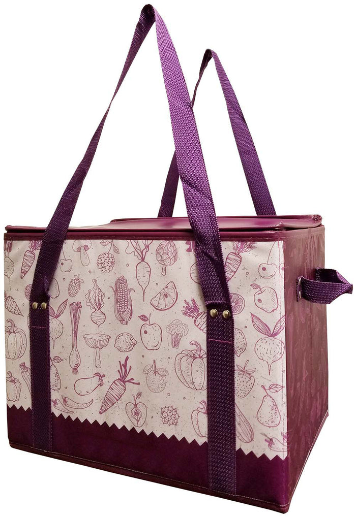 Reusable insulated shopping box bag with  zipper top lid