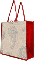 100% natural reusable Jute bag with cotton-covered padded handles