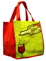 Laminated Non-Woven PP (front & back) 6 bottle wine tote with sewn-in partitions