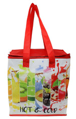 Large Laminated Non-Woven Insulated Reusable Shopping and/or Tote Bag with square top allows for larger capacity