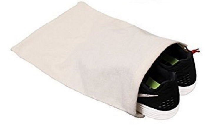 100% Cotton Shoe Storage Bag with Drawstring For Men and Women in Natural Made in the USA (100 pcs/case)