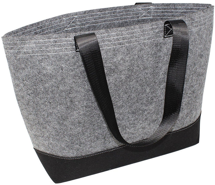 FELT REUSABLE SHOPPING TOTE BAG IN BLACK/GREY (50 PCS/CASE)