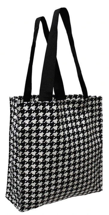 COTTON REUSABLE TOTE IN HOUNDSTOOTH PRINT ( 50 pcs/case )